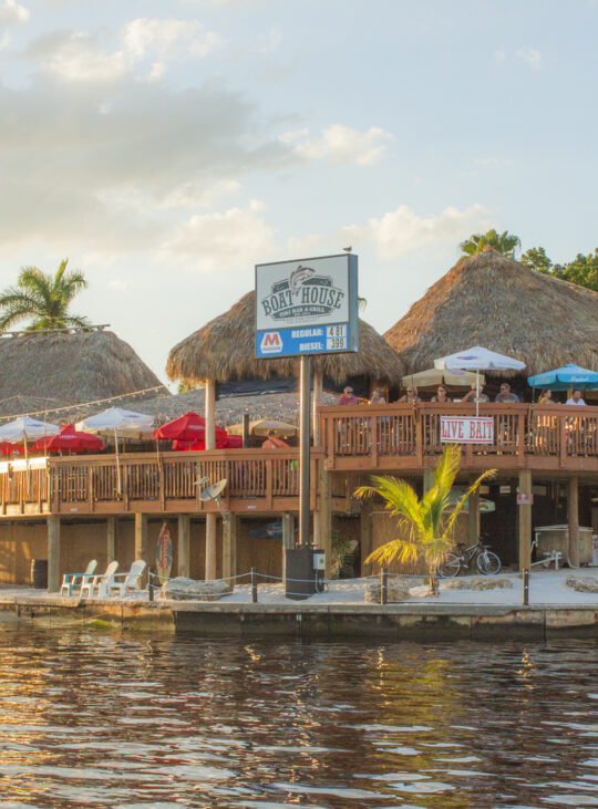 View from the water of the Boathouse Tiki Bar and Grill Cape Coral location
