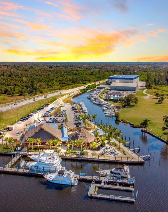Aerial view of the Boathouse Tiki Bar and Grill at Sweetwater Landing Marina in Fort Myers Florida