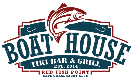 The Boathouse Tiki Bar and Grill logo for the Cape Coral location at Red Fish Point