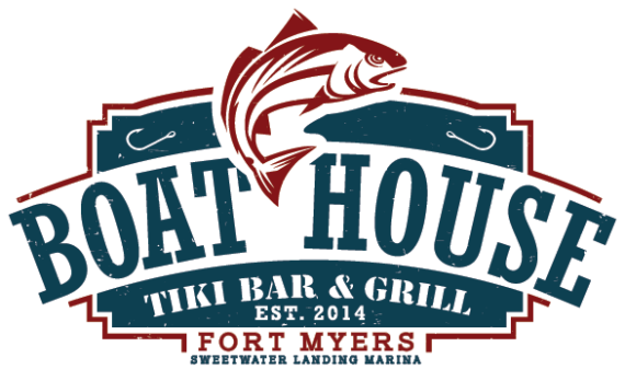 The Boathouse Tiki Bar and Grill logo for the Fort Myers location at Sweetwater Landing Marina