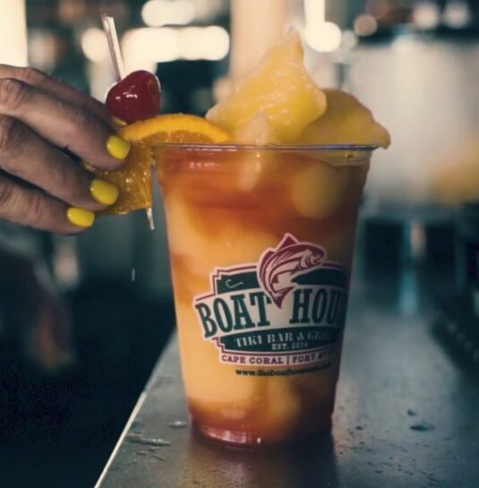 A wide variety of delicious mixed drinks are available all day everyday at the Boathouse Tiki Bar and Grill