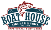 Logo for The Boathouse Tiki Bar & Grill showing both locations: Cape Coral and Fort Myers